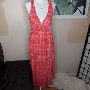 Cynthia Rowley Pink Tie Dye Cross Back Maxi Dress